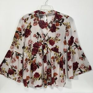 a.n.a. Loose Fit Bell Sleeve Floral Tunic Top